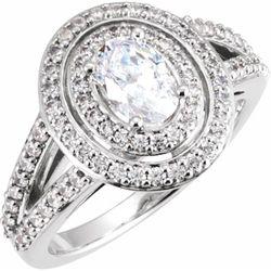 14K White 7x5 mm  Oval 3/4 CTW Diamond Semi-Set Engagement Ring