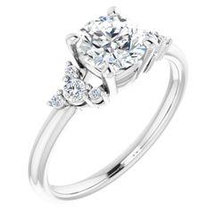 Platinum 6.5 mm  Round 1/6 CTW Diamond Semi-Set Engagement Ring