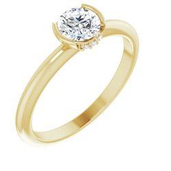 14K Yellow 5.2 mm Round .015 CTW Diamond Semi-Set Engagement Ring