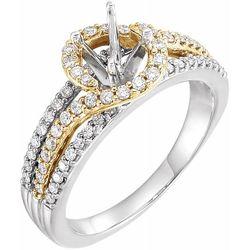 14K Yellow & White 5.2 mm Round 1/2 CTW Diamond Semi-Set Engagement Ring