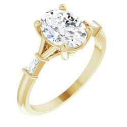 14K Yellow 9x7 mm Oval .08 CTW Diamond Semi-Set Engagement Ring