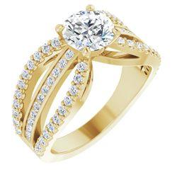 14K Yellow 6.5 mm Round 1/2 CTW Diamond Semi-Set Engagement Ring