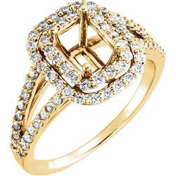 18K Yellow 7x5 mm Emerald 3/4 CTW Diamond Semi-Set Engagement Ring