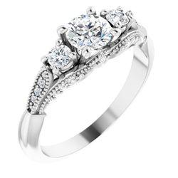 14K White 5.2 mm Round 1/4 CTW Diamond Semi-Set Engagement Ring