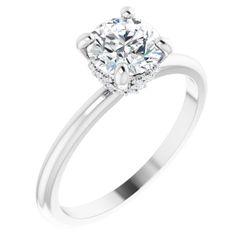 14K White 6.5 mm Round .06 CTW Diamond Semi-Set Engagement Ring