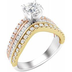 14K Tri-Color 5.8 mm Round 1/2 CTW Diamond Semi-Set Engagement Ring