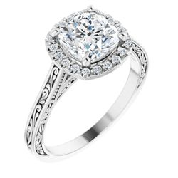 14K White 7x7 mm Cushion 1/10 CTW Diamond Semi-Set Engagement Ring
