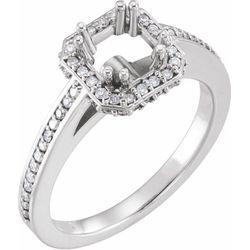 14K White 5.5x5.5 mm Square 1/4 CTW Diamond Semi-Set Engagement Ring