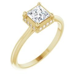 14K Yellow 5.5 mm Square .06 CTW Diamond Semi-Set Engagement Ring