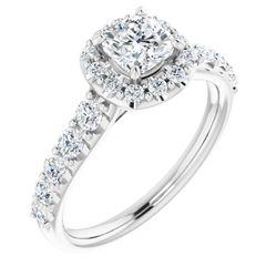 14K White 5x5 mm Cushion 5/8 CTW Diamond Semi-Set Engagement Ring