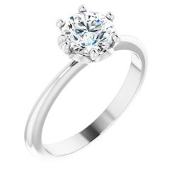 Platinum 6.5 mm Round .04 CTW Diamond Semi-Set Engagement Ring
