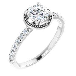 14K White 6.5 mm Round 1/5 CTW Diamond Semi-Set French-Set Engagement Ring