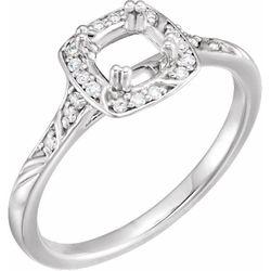 14K White 5 mm Square .08 CTW Diamond Semi-Set Sculptural-Inspired Engagement Ring