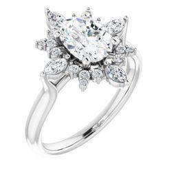 Platinum 8x6 mm Oval 1/3 CTW Diamond Semi-Set Engagement Ring