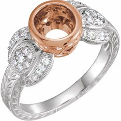 14K White & Rose 6.5 mm Round 1/3 CTW Diamond Semi-Set Engagement Ring