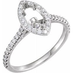 14K White 10x5 mm Marquise 3/8 CTW Diamond Semi-Set Engagement Ring
