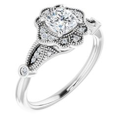 14K White 5x5 mm Cushion 1/10 CTW Diamond Semi-Set Engagement Ring