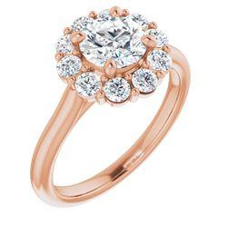 14K Rose 6.5 mm Round 5/8 CTW Diamond Semi-Set Engagement Ring