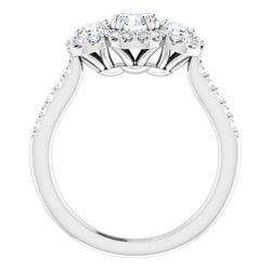 14K White 5.2 mm Round 3/4 CTW Diamond Semi-Set Engagement Ring