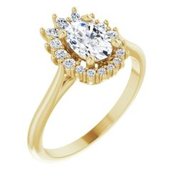 14K Yellow 7x5 mm Oval 1/4 CTW Diamond Semi-Set Engagement Ring