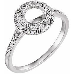 14K White 5.8 mm Round 1/5 CTW Diamond Semi-Set Engagement Ring