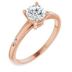 14K Rose 5.8 mm Round .03 CTW Diamond Semi-Set Engagement Ring