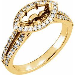 14K Yellow 9x4 mm Marquise 3/8 CTW Diamond Semi-Set Engagement Ring