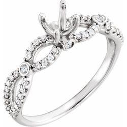 Platinum 7 mm Round 1/4 CTW Diamond Semi-Set Infinity-Inspired Engagement Ring