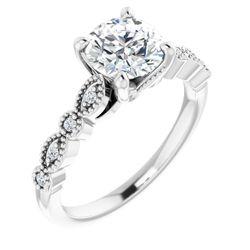 Platinum 7 mm Round .08 CTW Diamond Semi-Set Vintage-Inspired Engagement Ring