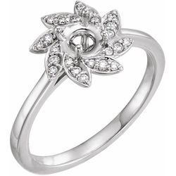 Platinum 5.2 mm Round 1/8 CTW Diamond Semi-Set Engagement Ring