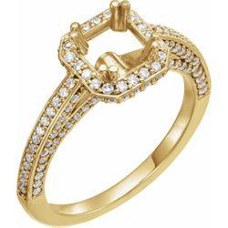 14K Yellow 5.5x5.5 mm Square 3/4 CTW Diamond Semi-Set Engagement Ring