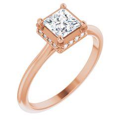 14K Rose 5.5 mm Square .06 CTW Diamond Semi-Set Engagement Ring