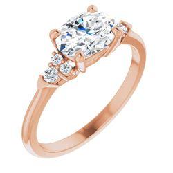 14K Rose 8x6 mm Oval 1/8 CTW Diamond Semi-Set Engagement Ring
