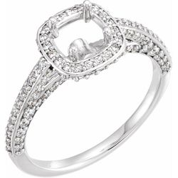 14K White 8.2 mm Round 5/8 CTW Diamond Semi-Set Engagement Ring
