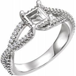 14K White 4.5 mm Square 1/4 CTW Diamond Semi-Set Engagement Ring