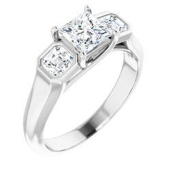 14K White 5x5 mm Square 5/8 CTW Diamond Semi-Set Engagement Ring