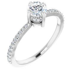 Platinum 5.2 mm Round 1/6 CTW Diamond Semi-Set French-Set Engagement Ring