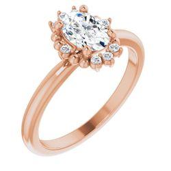 14K Rose 7x5 mm Oval .07 CTW Diamond Semi-Set Engagement Ring