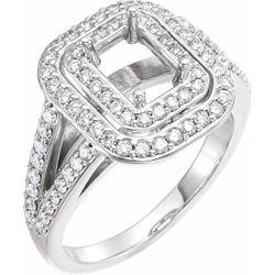 14K White 7x5 mm Emerald 3/4 CTW Diamond Semi-Set Engagement Ring