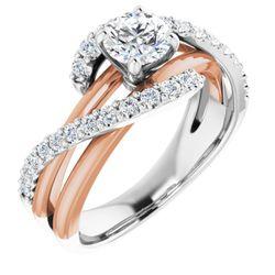 14K White & Rose 5.8 mm Round 3/8 CTW Diamond Semi-Set Engagement Ring