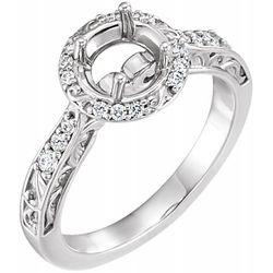 14K White 5.2 mm Round 1/6 CTW Diamond Semi-Set Engagement Ring