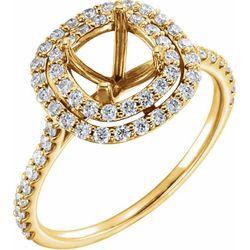 18K Yellow 6.5x6.5 mm Cushion 5/8 CTW Diamond Semi-Set Engagement Ring