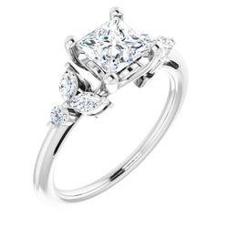 14K White 5.5 mm Square 1/4 CTW Diamond Semi-Set Engagement Ring