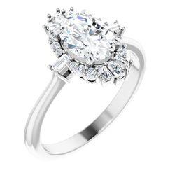 Platinum 8x6 mm Oval 1/5 CTW Diamond Semi-Set Engagement Ring