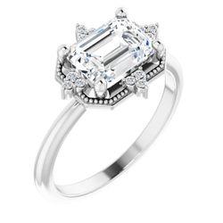 Platinum 8x6 mm Emerald .05 CTW Diamond Semi-Set Engagement Ring
