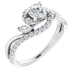 14K White 5.2 mm Round 3/8 CTW Diamond Semi-Set French-Set Engagement Ring
