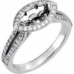 Platinum 9x4.5 mm Marquise 3/8 CTW Diamond Semi-Set Engagement Ring